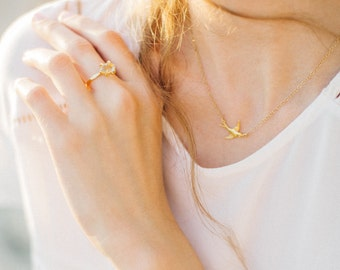 Soaring Sparrow Necklace, Dainty Jewelry, Layering Necklace, Bird Necklace, Minimalist Jewelry, Charm Necklace, Birds of a Feather, BFF Gift