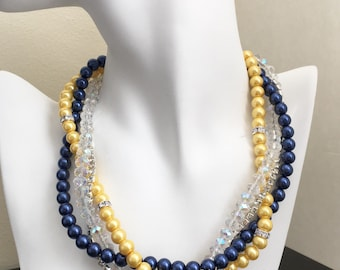 Navy Necklace Yellow Necklace Bridesmaid Necklace Multistrand Pearl Necklace Statement Necklace Wedding Jewelry Bridesmaid Gift for Her