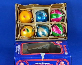 Vintage Santa Land Christmas Ornaments - Mercury Glass Ornaments - Set of 6 in Original Box - Made in Poland - Holiday Decorations