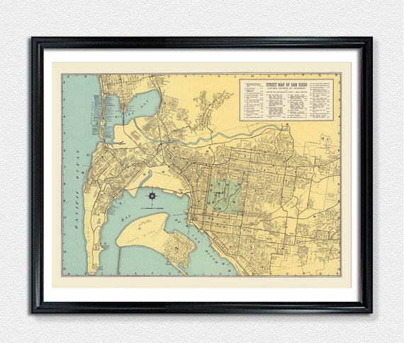 San diego city map map prints map poster vintage city map te gusta este artculo gumiabroncs Image collections