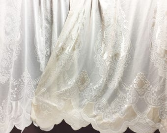 Sheer Fabric - Polyester Patterned Sheer Panel - White or Champagne Sheer  - Decorative Shaped Hem  - Singed Flower Fabric - P017 - 1 Panel