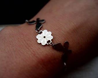 Bracelet, charm bracelet, stainless steel, flowers, butterfly