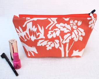 Red Orange Forest | Zippered Purse | Cosmetic Bag | Make-up Bag | Toiletry Bag | Organiser | Gift