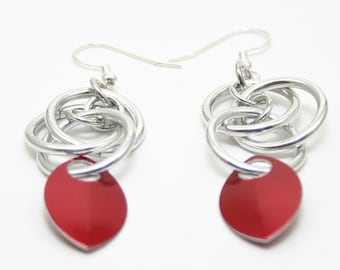 Red Scale Orbital Earrings