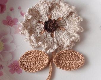Crochet Flower With Leaves In Cream, Latte, Brown YH-092-03