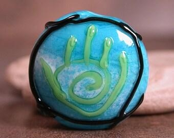 Healing Hand Bead, Lampwork Focal Bead, Lampwork Glass Focal, Divine Spark Designs, SRA