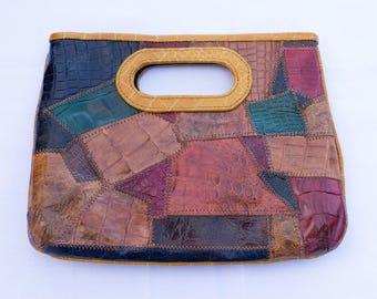 patch   genuine leather clutch