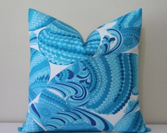 """SALE - BOTH SIDES Trina Turk 18"""" x 18"""" - Pisces Print in Pool Designer Pillow Cover"""