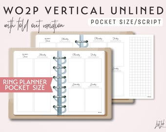 POCKET Size Week on 2 Pages Vertical Unlined - Printable Ring Planner Insert - Script Theme
