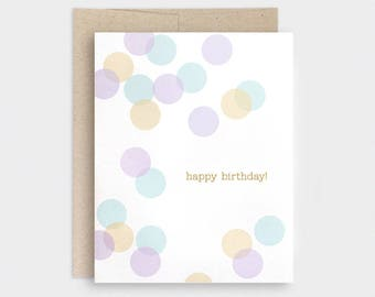 Birthday Card - Confetti, Eco Friendly Happy Birthday Card - Pastels Purple, Mustard, Teal Blue