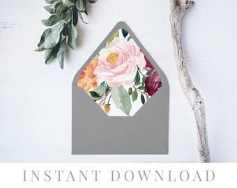 Printable Envelope Liner INSTANT DOWNLOAD, 11 Sizes, Liner template, Envelope Liners, DIY Envelope Liner, A7 Liner, Square, Euro, Breeze