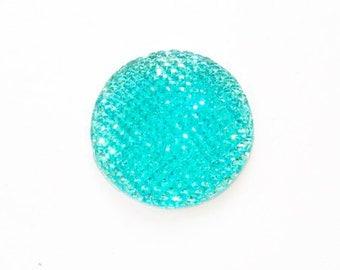 Shine flat 24mm turquoise resin cabochon