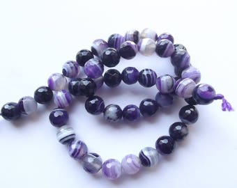 47 round faceted 8 mm purple agate KIRS 607