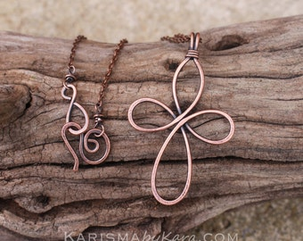 Large Cross Pendant. Necklace. Copper Wire. Oxidized. Celtic. Wire Jewelry.