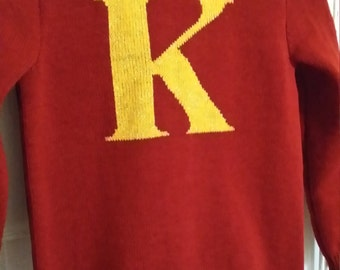 "Handmade knitted ""initial"" jumper"