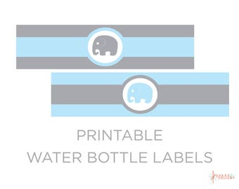 Printable Water Bottle Labels - Elephant Baby Shower - Elephant Water Bottle Labels - Elephant Birthday - Elephant Theme - Boy Baby Shower