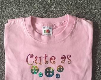 Cute as Buttons girl's t-shirt