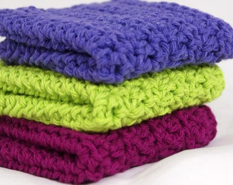 Crochet Washcloths Dishcloths in Plum, Grape and Lime Set of 3