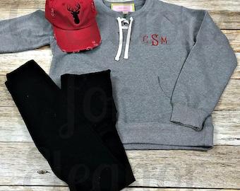 Women's Monogrammed Sweatshirt Set, Monogrammed Pullover, Monogrammed Sweatshirt, Personalized Pullover, Monogram Sweatshirt, Deer Hat