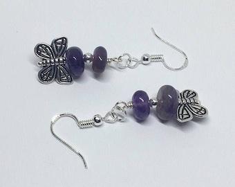 Butterfly Amethyst Gemstone Earrings, Butterfly Earrings, Amethyst Earrings,  Entomologist Gift, February Birthstone, Gift for Her, Uk shop