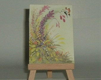 floral butterfly aceo art painting original (ref E182)