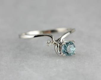 Blue Zircon and Diamond Ring, Birthstone Ring, Bypass Ring, Anniversary Gift N8ZJMPTR-P