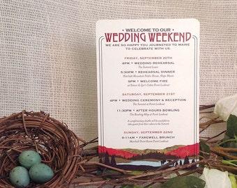 Fall Appalachian Wedding Timeline A2 Itinerary Card: Get Started Deposit