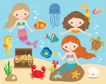 Under the Sea Clipart Little Mermaid Clipart Mermaid Clipart Mermaid Clip Art Cute Mermaid Clipart Summer Fish Clipart Shell Clipart