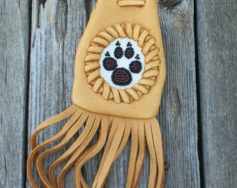Fringed medicine bag with beaded wolf totem , Leather medicine bag , Leather neck bag , Necklace bag