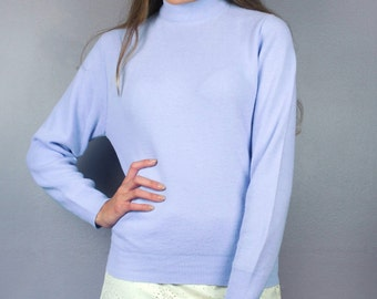 Vintage 60s Purple Pastel High Mock Turtle Neck Long Sleeve Sweater