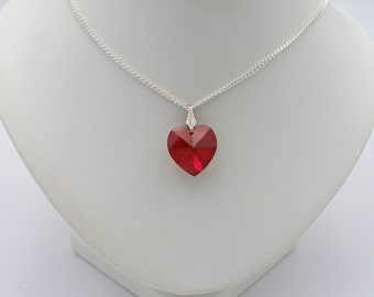 18mm Siam AB (Red) Swarovski Crystal Heart Pendant on a Silver Chain