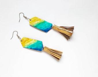 Ocean Earrings, Beach Earrings, Tassel Earrings, Beach Jewelry, Fringe Earrings, Boho Chic Earrings, Geometric Jewelry, Vacation Jewelry