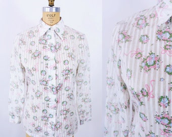 """ANNIVERSARY SALE // 1980s floral blouse   white pink long sleeve button down top   vintage 80s blouse   W 34"""""""