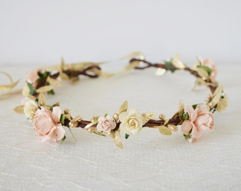 Peach and Cream Rose & Gold Leaf Flower Crown, bridal hair accessories, wedding hair accessories, flower circlet, floral crown, spring crown