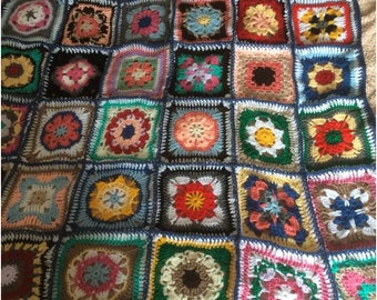 Crochet throw,lovely patchwork type squares