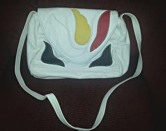 Sale! Multicolored Leather Over the Shoulder Bag / White Handbag / Leather Purse