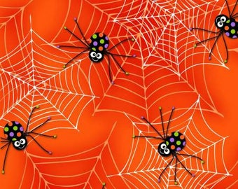 170083 Orange Spiders on Web (glows in the dark), Fangtastic by First Blush Studio