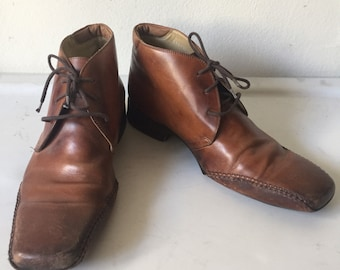 Real leather shoes classic style shoes from leather, soft genuine leather costumed shoes on laces vintage men's bright brown color size-10.