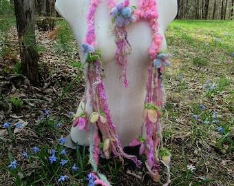 scarf lariat fantasy art yarn garland fantasy flower scarf - enchanted flower garden faerie happiness scarf