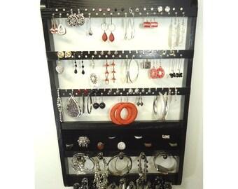 ON SALE Earring Holder Ring Organization, Necklace Storage, Bracelet Pegs, Wooden Jewelry Display, Solid Oak Hardwood, Ebony Stained, Wall M