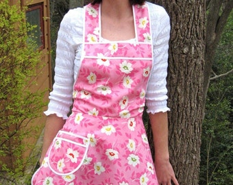 Pink Print Retro Full Apron,  Flirty Everyday Housewife Apron