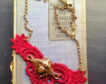 Red Lace Honeybee Necklace