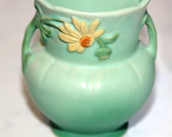 Vintage Green Ceramic Vase With Sunny Yellow Flower