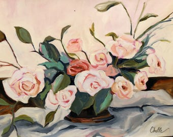 Pink Roses, floral oil painting on paper