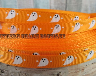 "3 yards 3/8"" Halloween Ghost grosgrain ribbon (orange)"