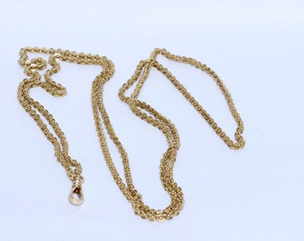 14K Gold Pocket Watch Chain Necklace