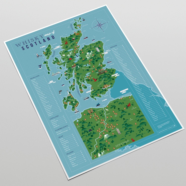 Whisky Karte von Schottland A3-Druck