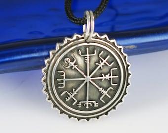 Sale! 20% off - Nordic Viking Vegvisir Nautical Mariner Compass Pendant - Sterling Silver Vegvisir Viking Compass-Warrior Protection Pendant