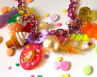Kawaii Candy Charm Necklace, Toy Necklace, Gummy Bear Necklace, Candy Jewelry, Food Jewelry, Pastel Jewelry, Resin Jewelry