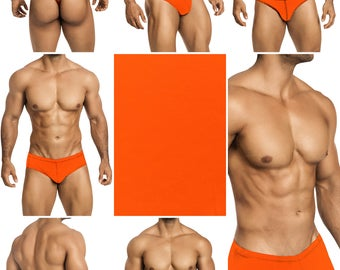 Screaming Neon Orange Swimsuits for Men by Vuthy Sim.  Choose Thong, Bikini, Brief, Squarecut - 194